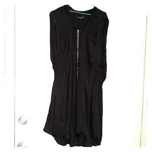 Isabel Marant flowy black zip dress w tie waist